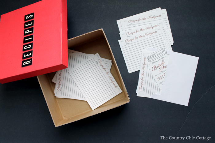 Collect personalized recipes from bridal shower guests with these fun recipe cards!