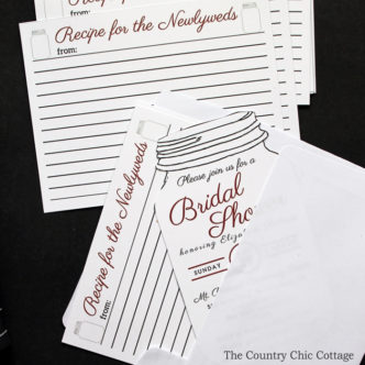 A fun bridal shower recipe idea! Send recipe cards to all of your guests with the invitation and have them bring their favorite recipes instead of a card! Free printable recipe cards included!