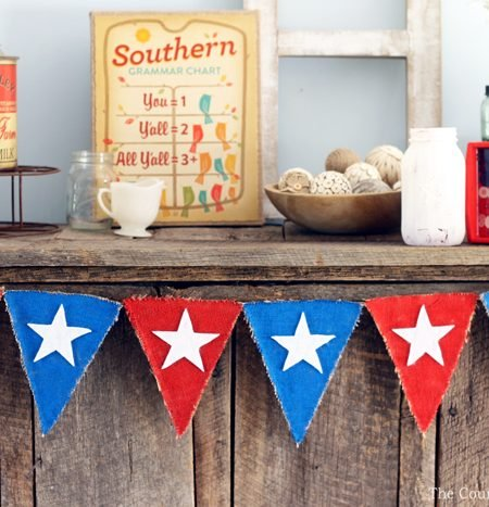 Make this DIY patriotic banner for your home decor! Perfect for summer and the Fourth of July!