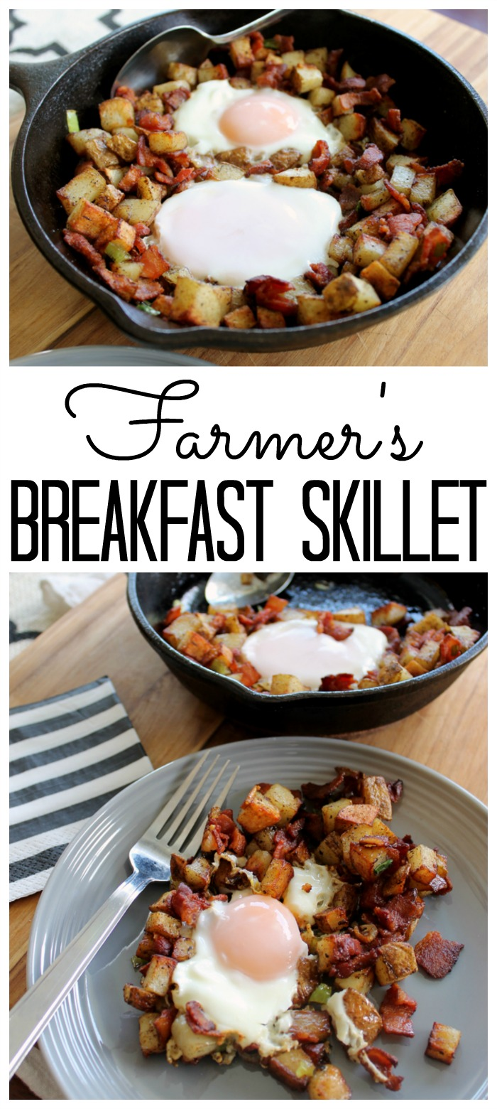 Make this farmer's breakfast skillet recipe for any meal of the day! A hearty one pan meal that is sure to please!