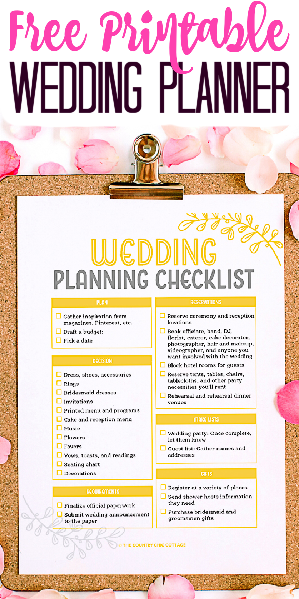 Get this free printable wedding planner and let it help you plan your wedding! A great checklist for all of those little things you may be forgetting! #wedding #weddingplanning #checklist #freeprintable