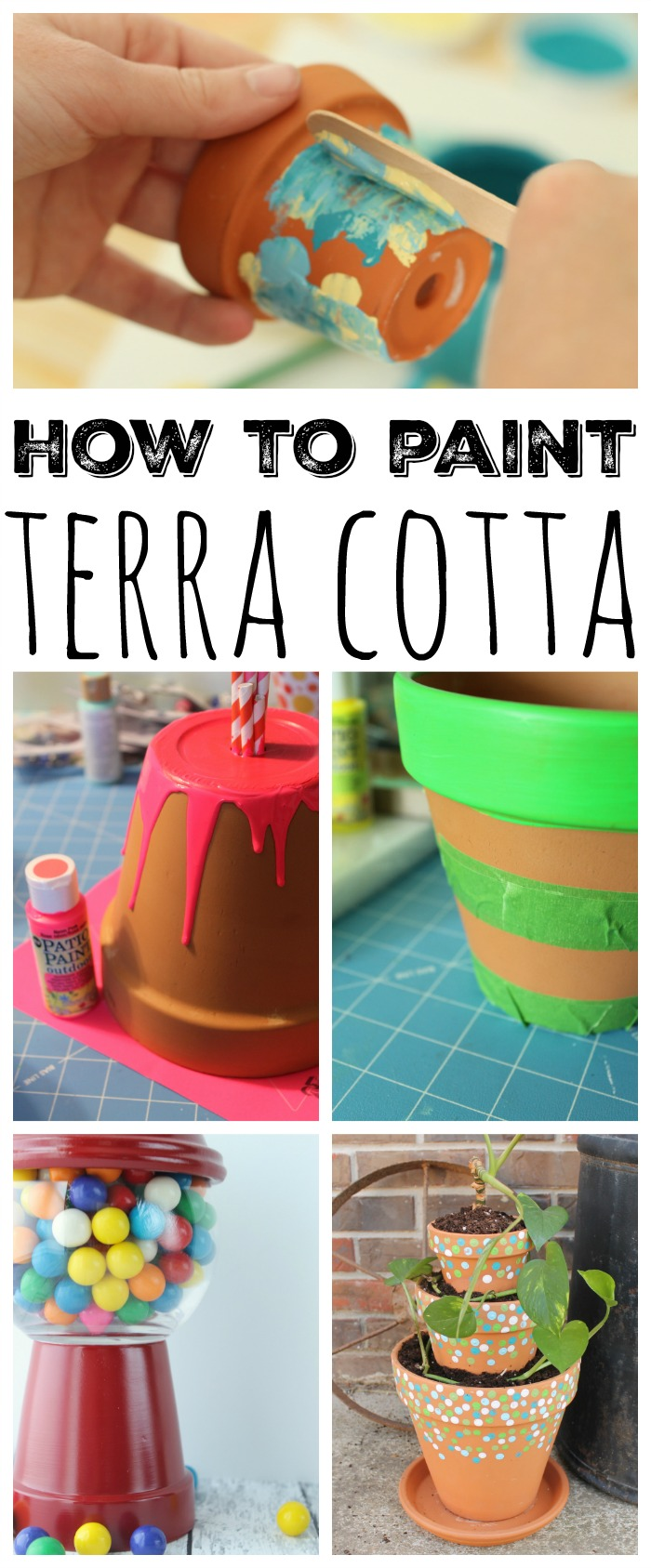 Collage photo of terra cotta planters and terra cotta crafts