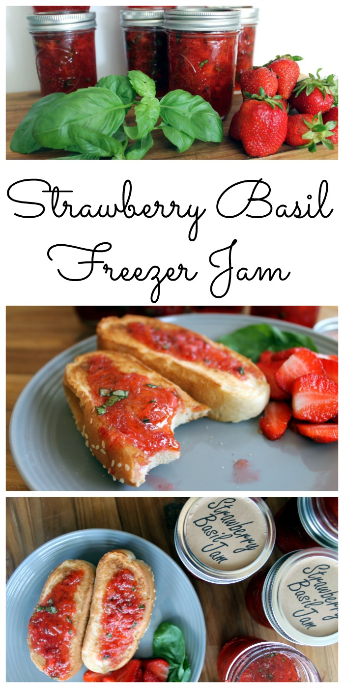 Make strawberry basil jam and add on our free printable labels! A great freezer jam recipe that only takes minutes to make! The sweet and savory combination will really hit the spot!