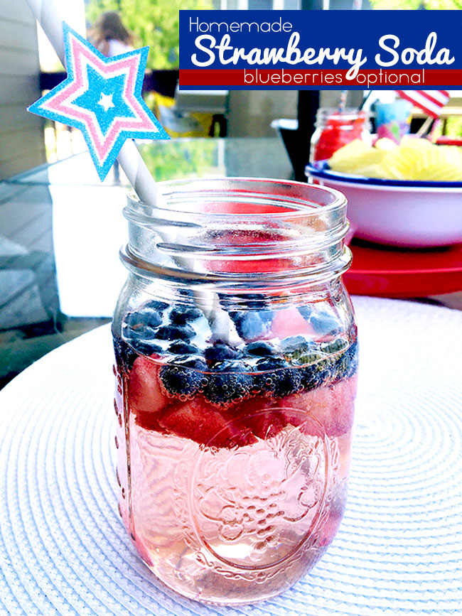 Patriotic Drinks with fresh strawberries