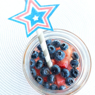 Patriotic Drink with Strawberries