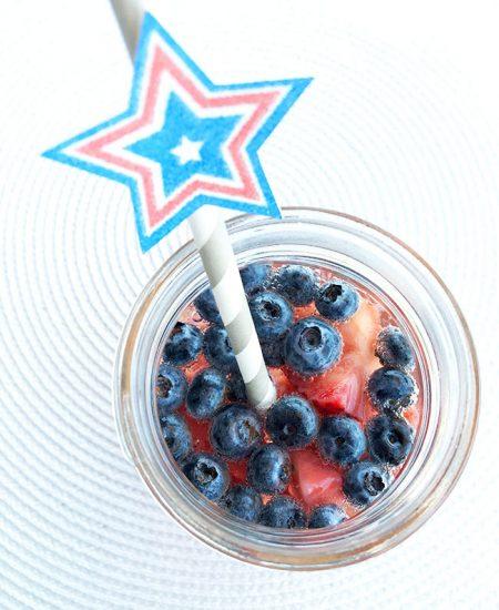 A fun patriotic drink recipe plus cute patriotic straws you can make yourself