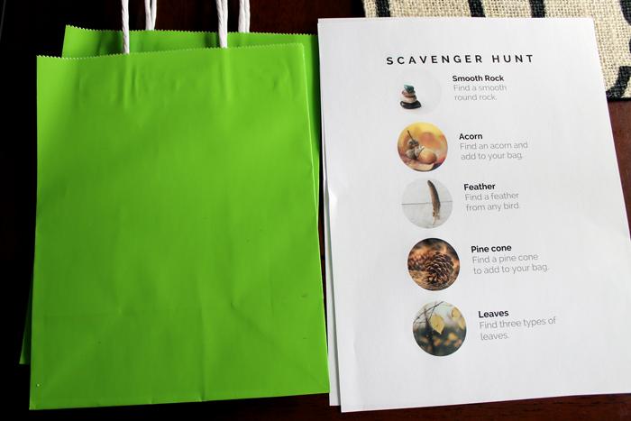 assembling bags for nature scavenger hunt for kids
