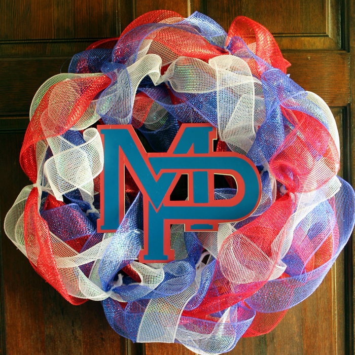 Make a school pride wreath for any school! Show off your school spirit by decorating your front door! Also perfect for a school fundraiser!