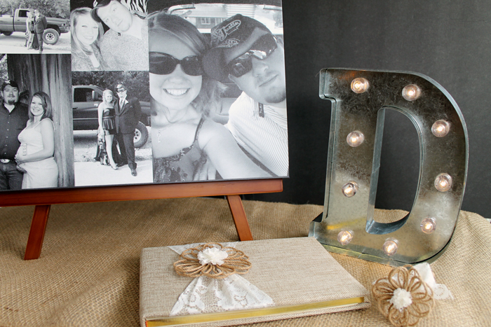This wedding guest book idea is perfect for your ceremony! Love the canvas that can be sent home with the couple after the wedding!