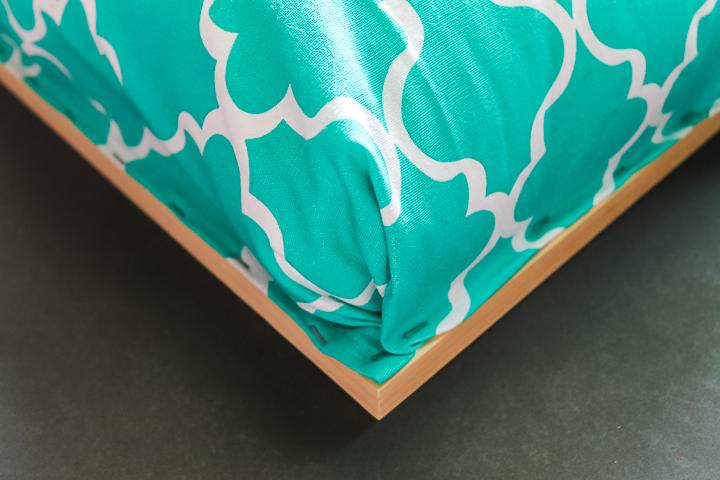 stapling folded fabric corners