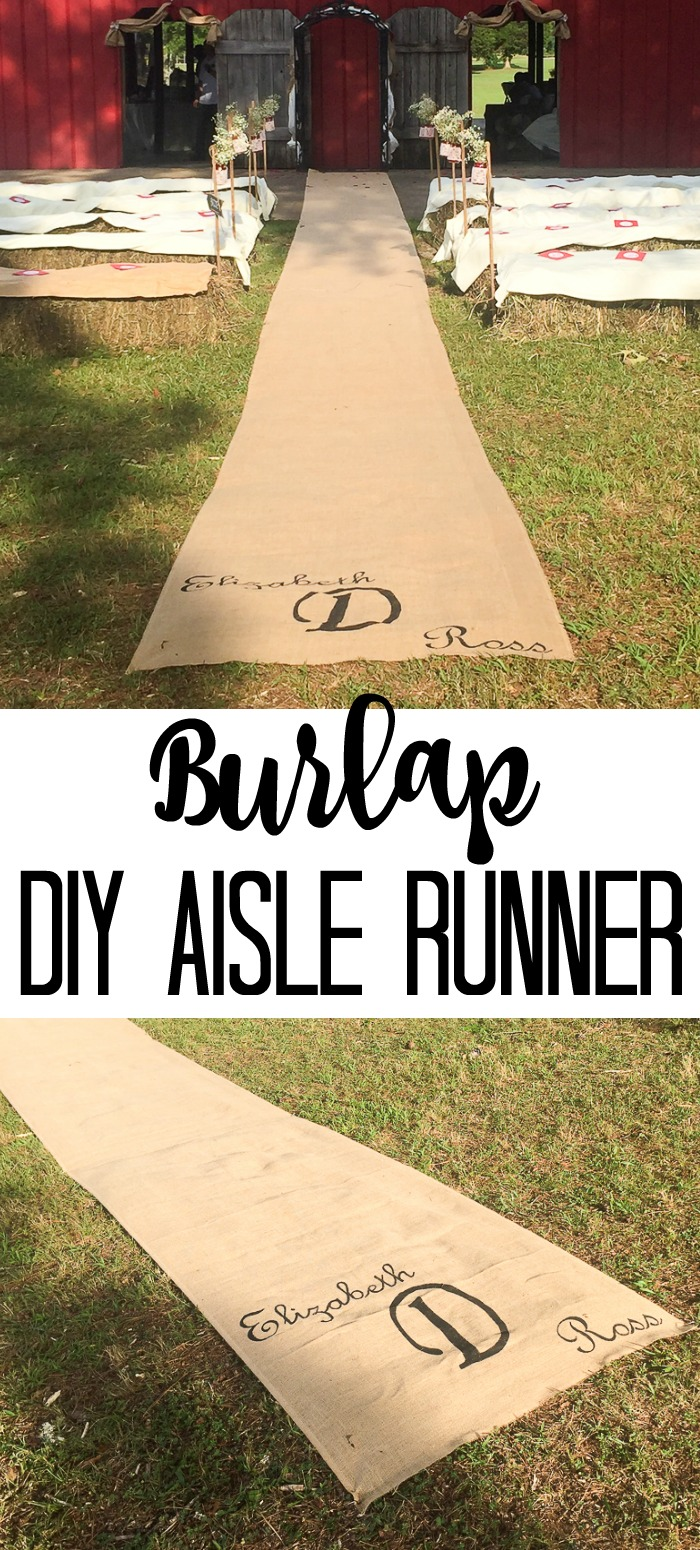 Make this DIY burlap aisle runner for your wedding! A gorgeous way to add a rustic touch to your barn wedding! #burlap #wedding #rustic #barnwedding