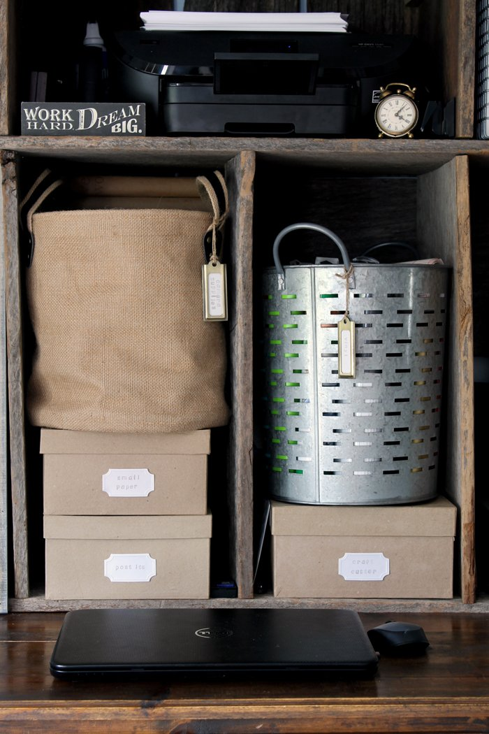 These burlap and metal baskets are perfect office storage pieces