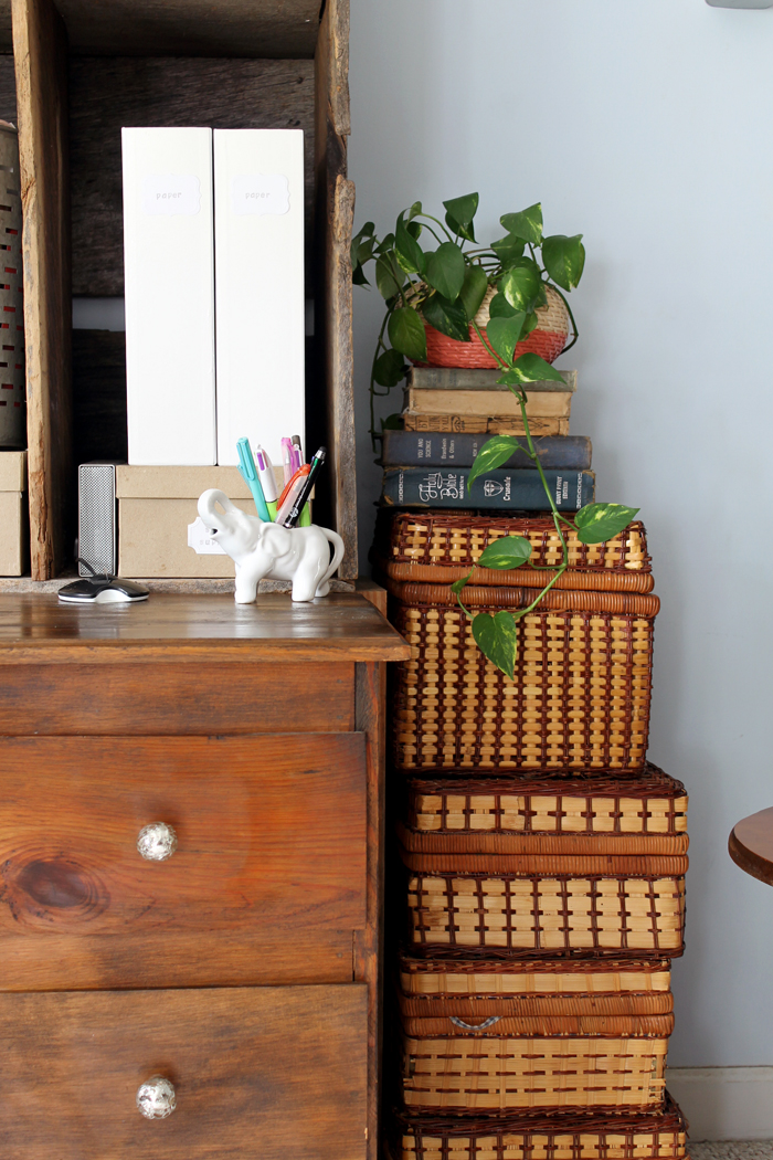 These stacked wicker baskets are more hidden storage in my farmhouse style office