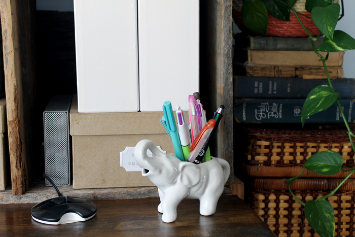 This adorable elephant creamer is repurposed in my farmhouse style office as a pen holder