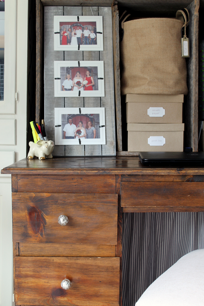 This farmhouse office desk is the perfect place to get work done and be productive!
