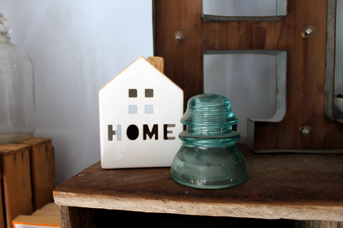Small touches like this HOME ceramic piece are perfect additions to a farmhouse style office.