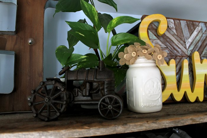 This cast iron tractor is an awesome vintage piece that adds the perfect touch to my farmhouse style office