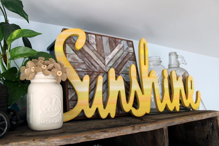 I love the pop of color this sunshine sign adds to my farmhouse style office.