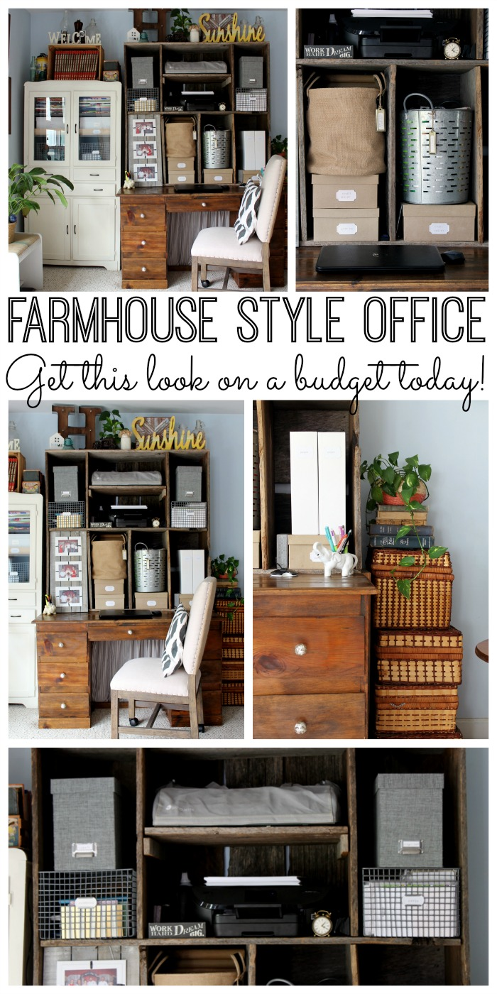 office area in living room. Tour This Farmhouse Style Office Area And Learn How One Blogger Created Fixer Upper Look In Living Room T
