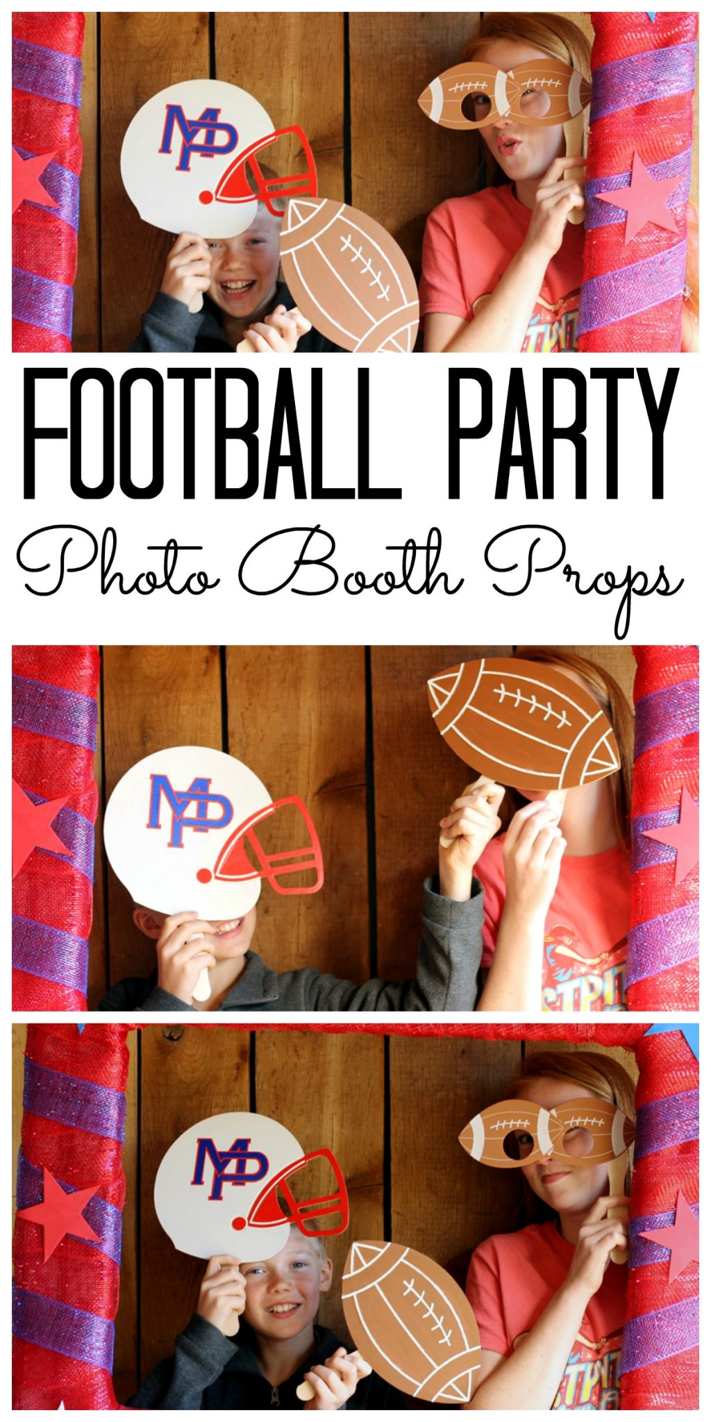 Make these football party photo booth props in just minutes! Add some fun to any football party with a photo booth!