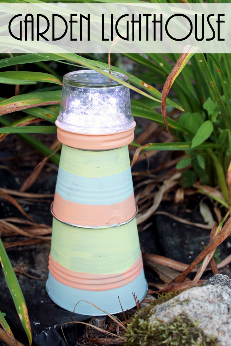 Make this garden lighthouse for your outdoor decor! A fun DIY project that is perfect for your yard!