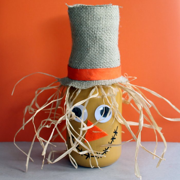 Scarecrow Jar Fall Craft Idea The Country Chic Cottage