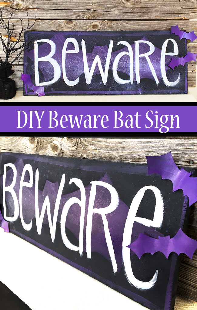 DIY Beware Bat Sign designed by Jen Goode