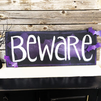 DIY Beware Bat Sign for Halloween