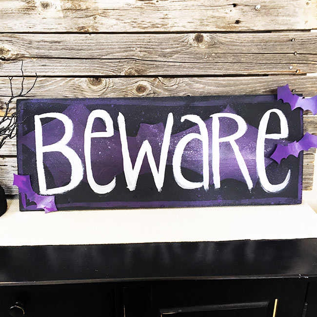Beware Bat Sign - DIY Halloween Decor by Jen Goode