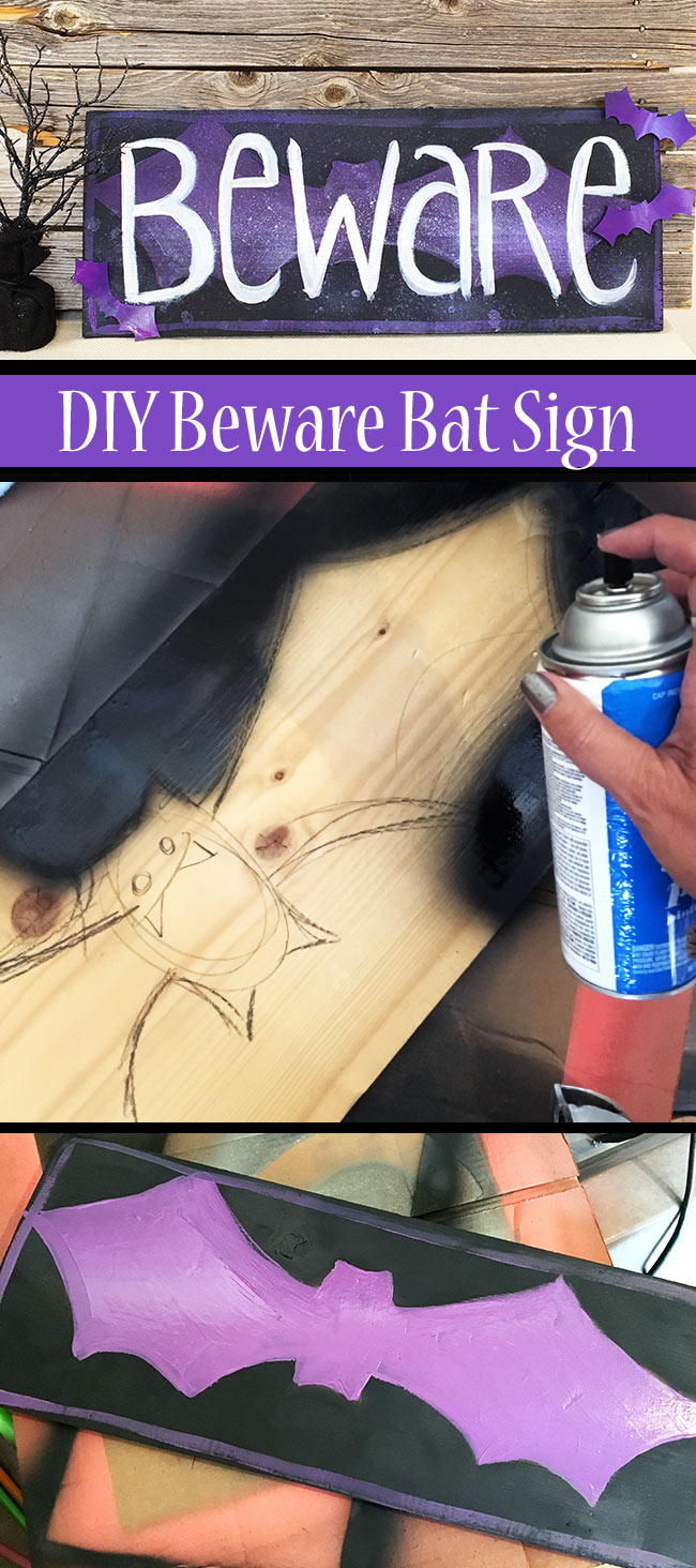 DIY Beware sign for Halloween