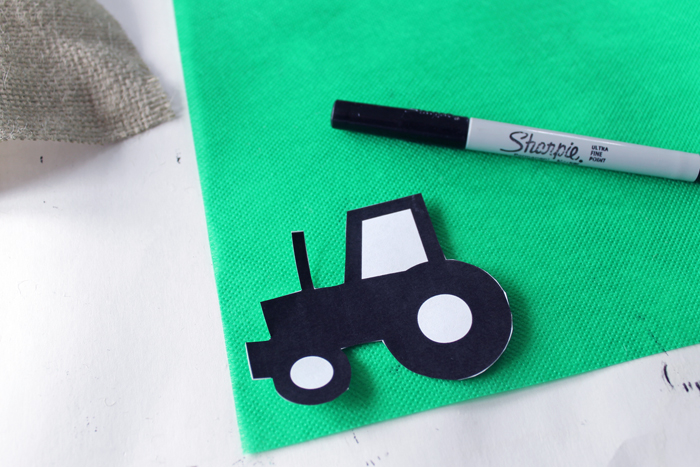 Trace the tractor shape onto the Olyfun fabric