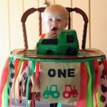 First birthday high chair banner - decorate for your baby's first birthday party! Great for a farm or tractor birthday!