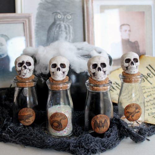 Make these Halloween potion jars in minutes! Free printable label as well!