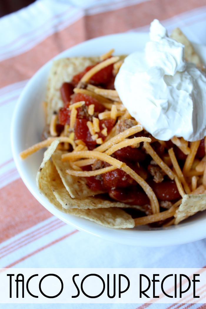 This taco soup recipe is perfect for those cool nights!