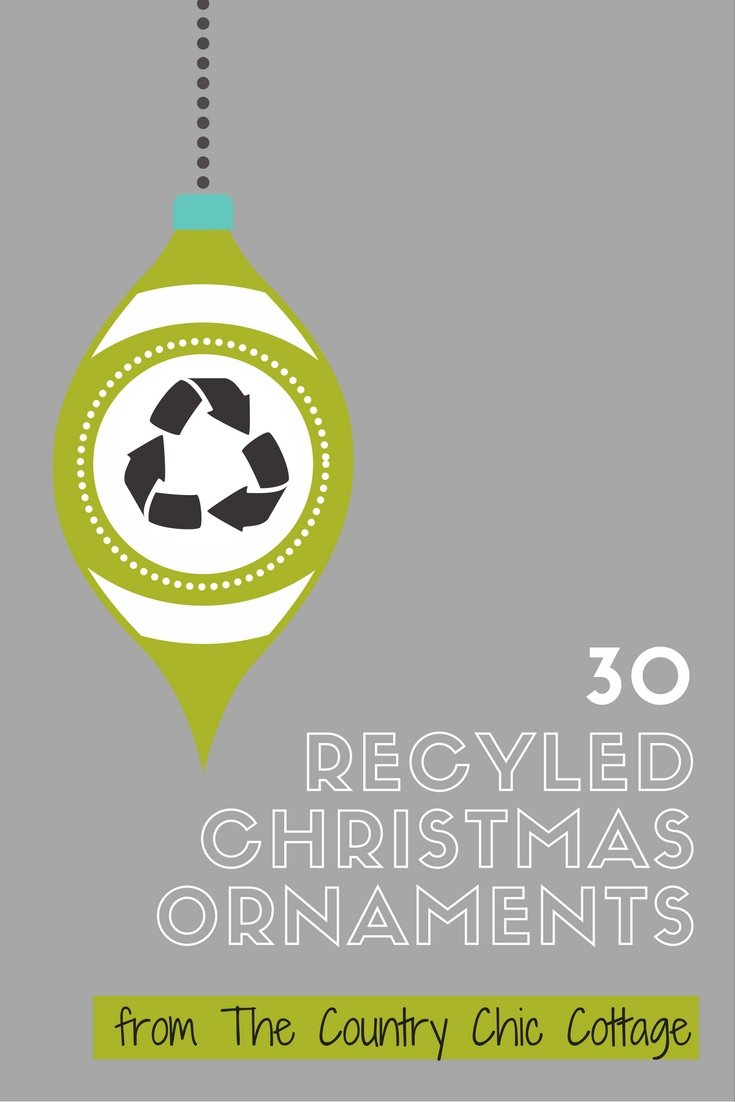 30 Recycled Christmas Ornaments for your tree this holiday season!  Great recycled crafts to decorate your home.