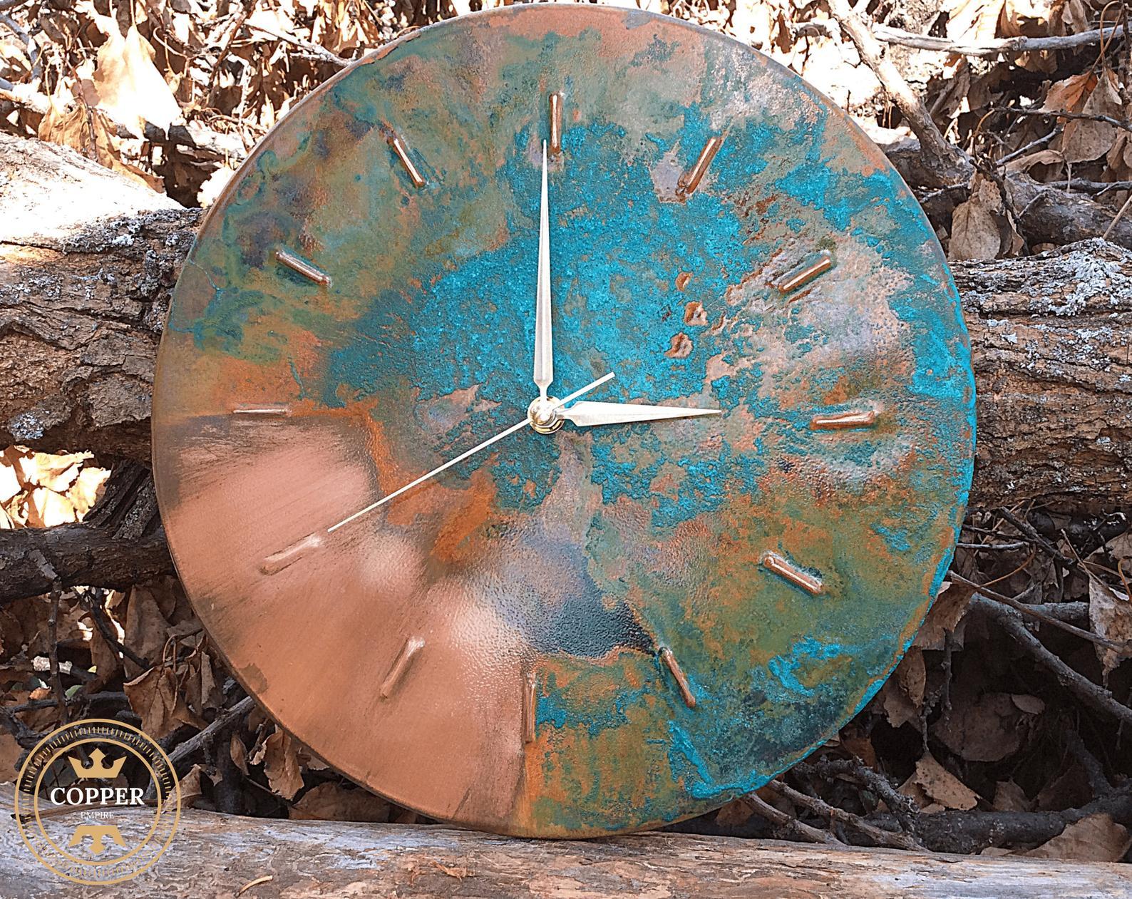 copper patina clock