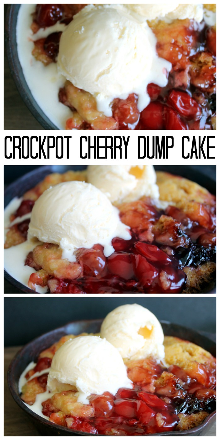 Crockpot cherry dump cake recipe in a slow cooker! A fabulous slow cooker dessert recipe!