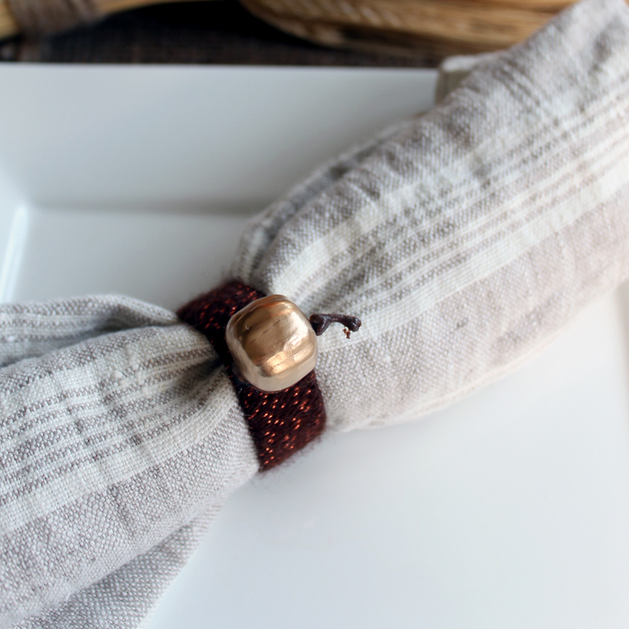 Make these pumpkin napkin rings in minutes for your Thanksgiving or fall table!