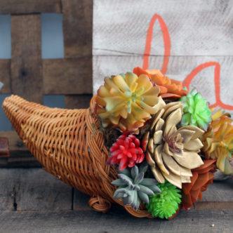 Succulent Cornucopia for Thanksgiving