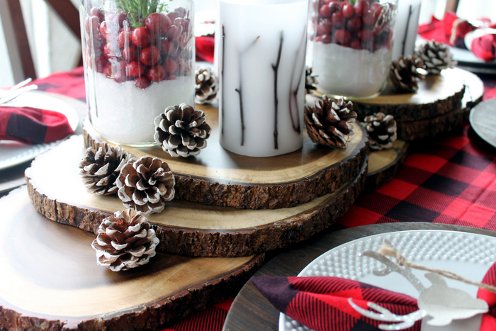 rustic centerpiece with pinecones, mason jars and twig candles
