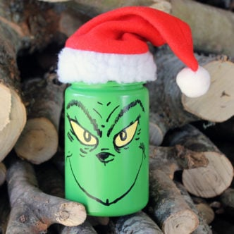 Make this Grinch mason jar for your Christmas decor! Perfect for a gift in a jar!