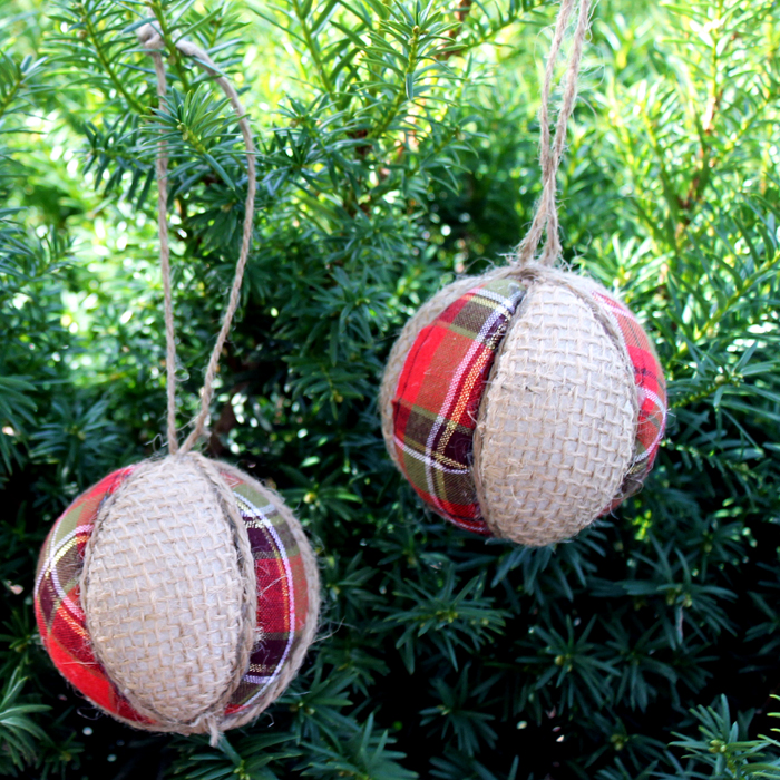 plaid and burlap ornaments make your own easily using styrofoam balls great video tutorial - Burlap Christmas Decorations