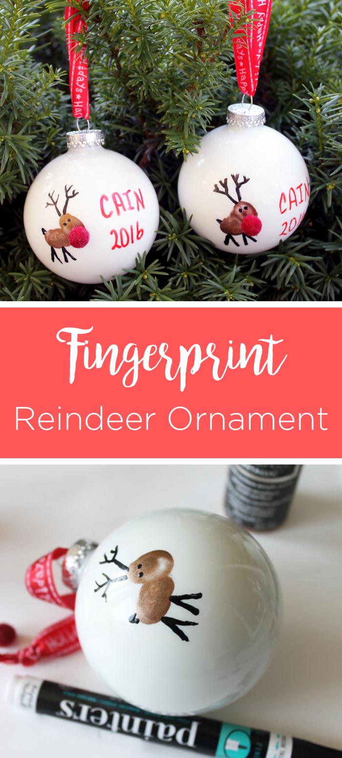 2 reindeer ornaments made with fingerprints