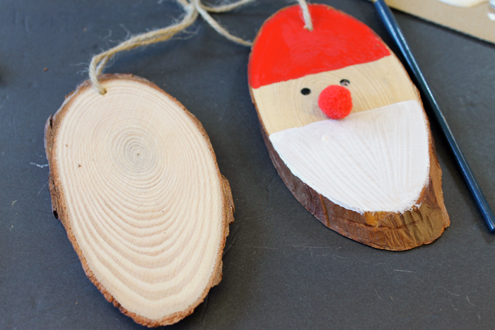 wooden Christmas ornament tutorial, process shot.