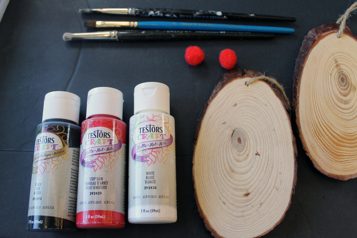 Supplies needed for wooden Santa ornaments