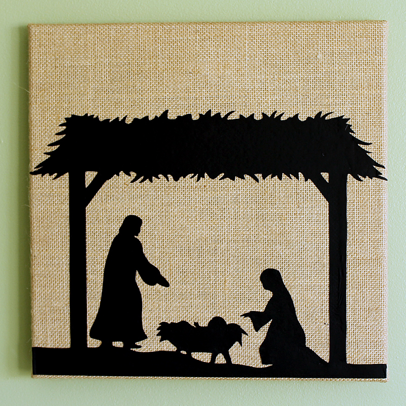Make a burlap canvas with nativity scene for your home! Gorgeous Christmas art for your walls with the real meaning for the season!