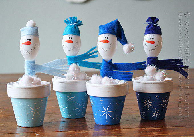 snowman clay pots