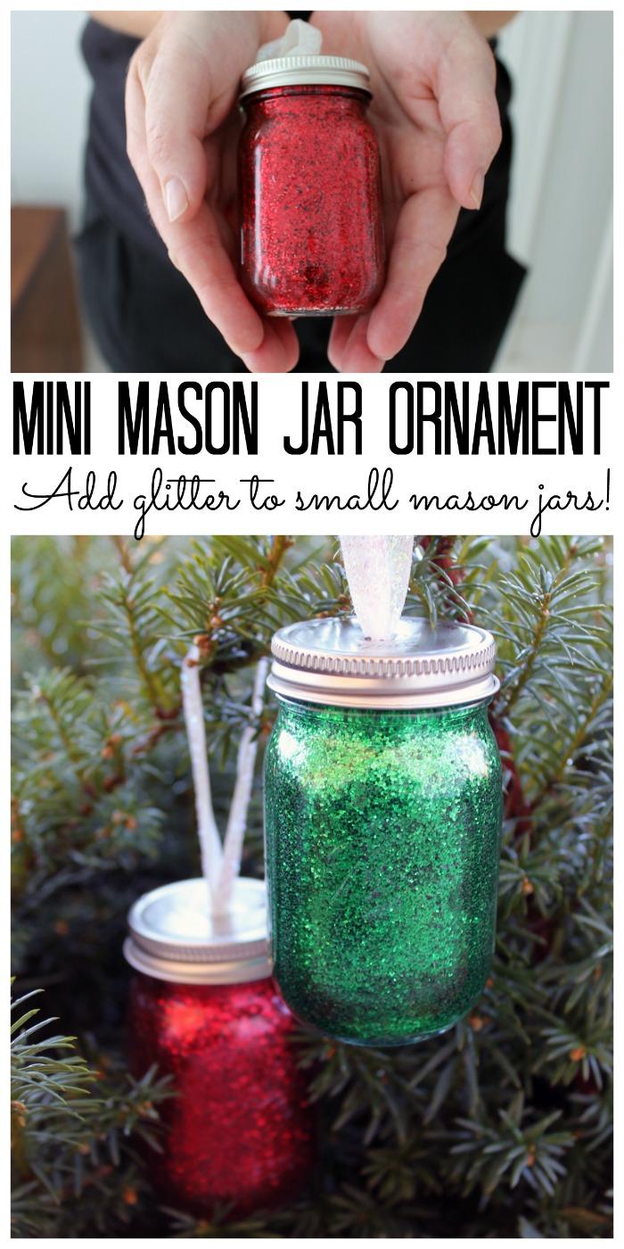 DIY glitter mini mason jar ornament - make your own for your Christmas tree!