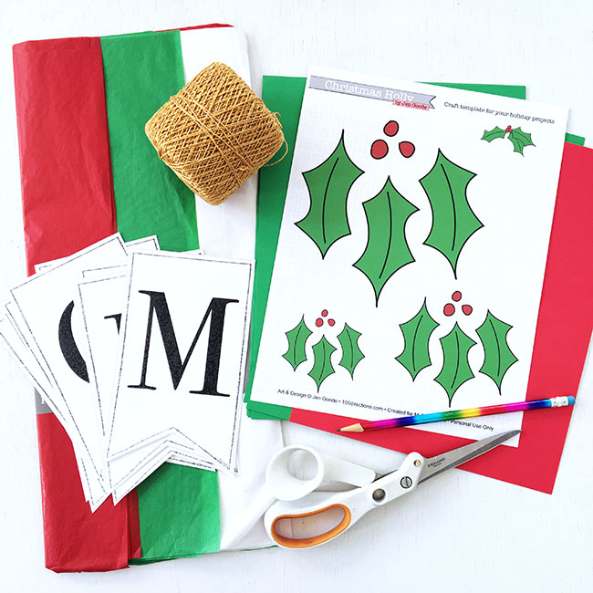 Supplies to make your own Christmas Banner