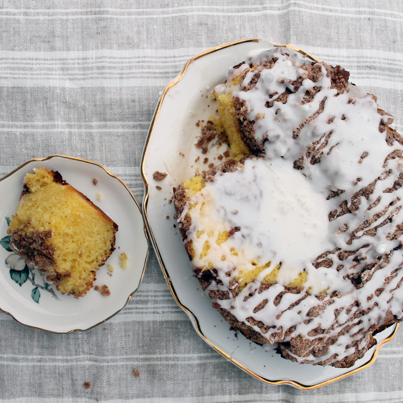 sliced coffee cake recipe any morning  on a plate